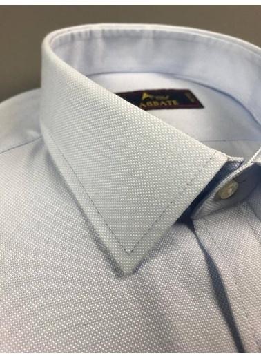 Abbate Kolay Ütülenır Klasık Yaka Oxford Doku Slımfıt Gömlek Mavi
